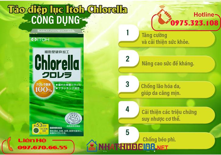 Công dụng Viên uống Tảo diệp lục Itoh Chlorella Nhật Bản